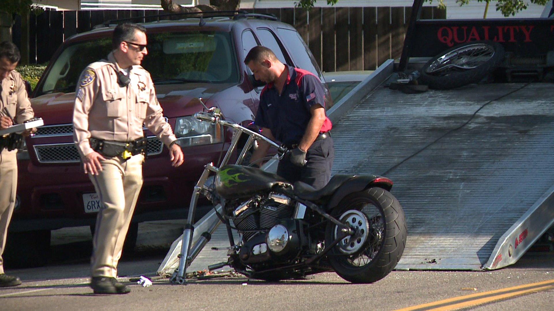 Motorcyclist Suffers Broken Foot Road