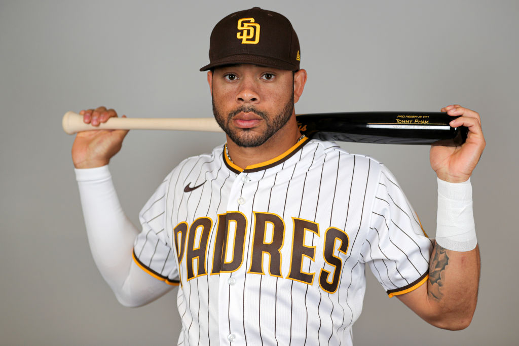 PEORIA, ARIZONA - FEBRUARY 20: Tommy Pham #28 of the San Diego Padres poses for a photo during Photo Day at Peoria Sports Complex on February 20, 2020 in Peoria, Arizona. (Photo by Brady Klain/Getty Images)