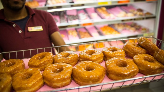 Image result for Dunkin』 will give out free donuts every Friday this month