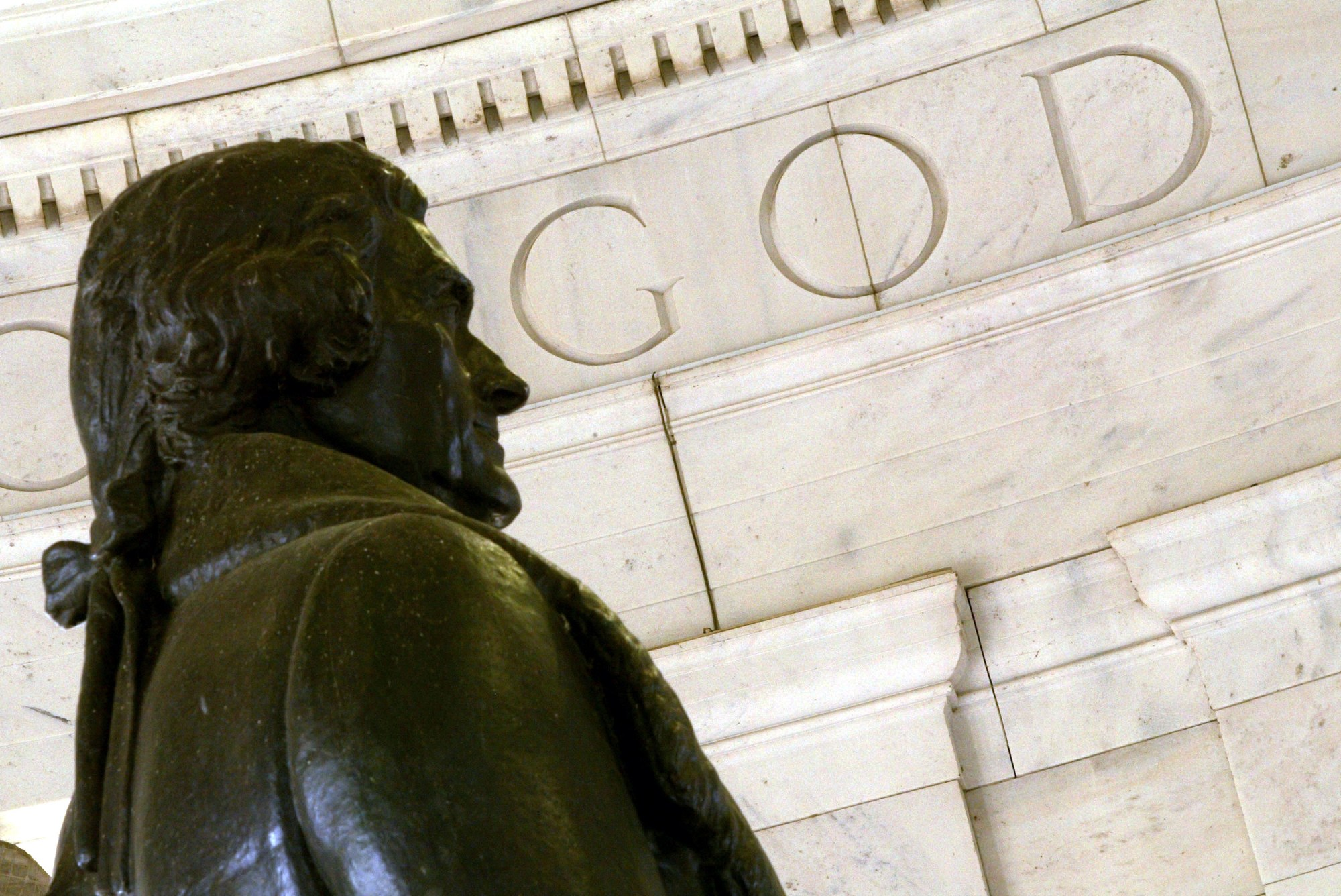 "The word ""God"" is seen on the wall of the Thomas Jefferson Memorial"