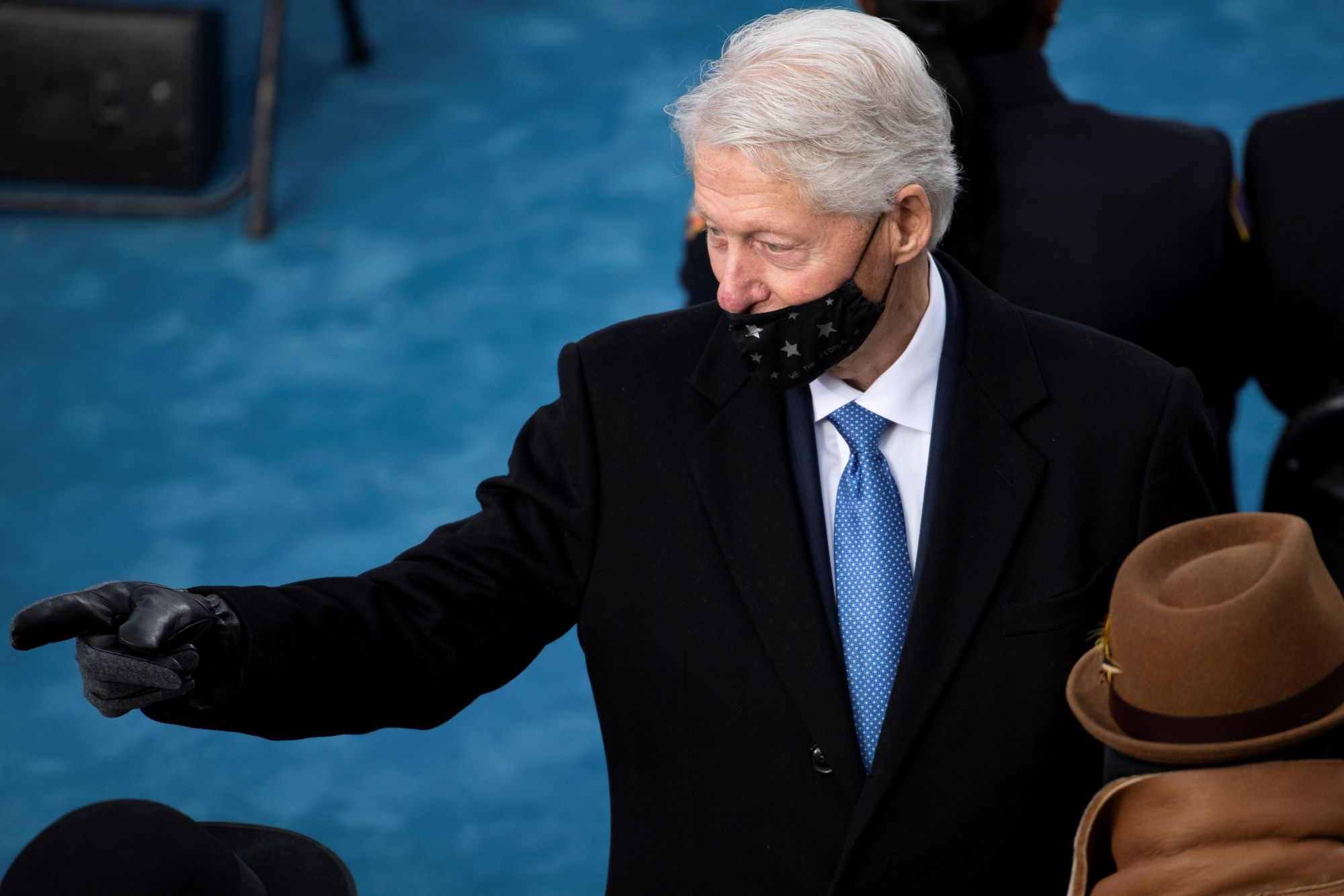 Former US President Bill Clinton gestures as he arrives for the inauguration of Joe Biden as the 46th US President on January 20, 2021, at the US Capitol in Washington, DC. (Photo by Caroline Brehman / POOL / AFP) (Photo by CAROLINE BREHMAN/POOL/AFP via Getty Images)