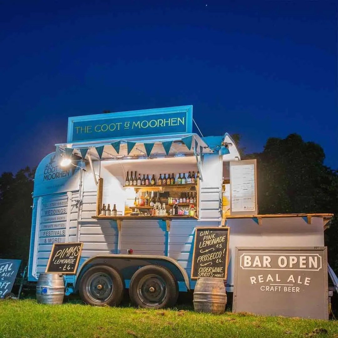 Pop up bar for a festival wedding