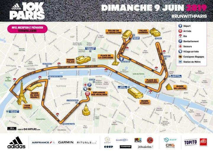 parcours course adidas 10k paris