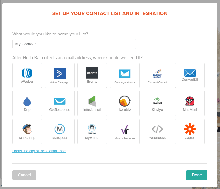 Hello Bar supported email softwares for integration