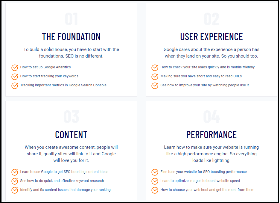 Categories in SEO checklist
