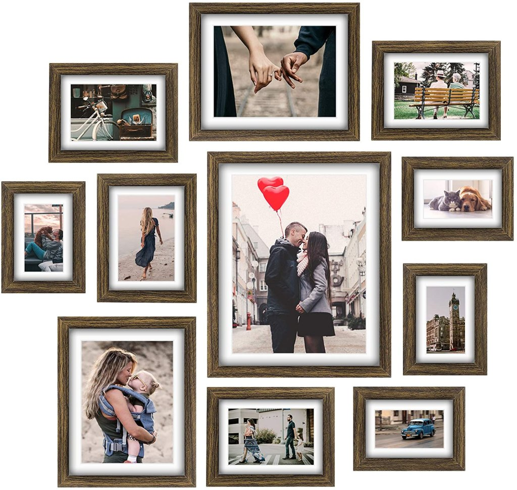 Homemaxs Picture Frames Collage Set - 11 Pcs Rustic Wooden Photo Frame Gallery Wall Frame Set
