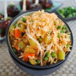 Kimchi Fried Rice - A quick and yummy vegetarian entree or side dish. | foxeslovelemons.com