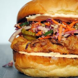 Fried Chicken Sandwiches with Pickle Coleslaw - The Best Sandwich You'll Ever Eat! | foxeslovelemons.com