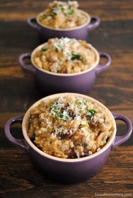 Eating oatmeal for dinner isn't as crazy as it sounds with this Savory Mushroom Oat Risotto. It's a cheap, delicious, hearty vegetarian meal. | foxeslovelemons.com