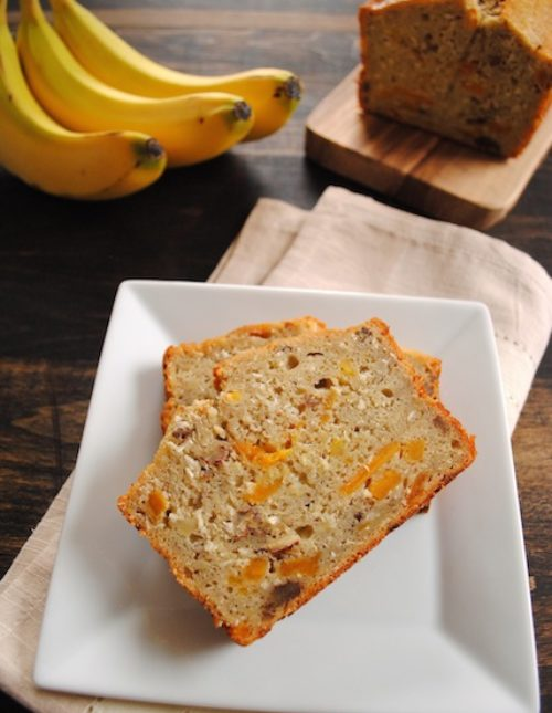 Tropical Mango Banana Bourbon Bread - a taste of Hawaii in a slice of bread!   foxeslovelemons.com
