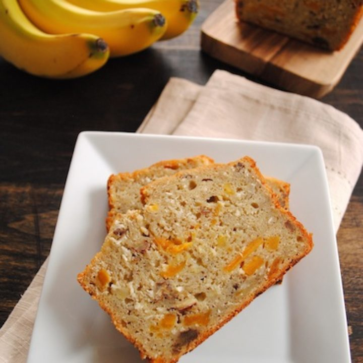 Tropical Mango Banana Bourbon Bread - a taste of Hawaii in a slice of bread! | foxeslovelemons.com