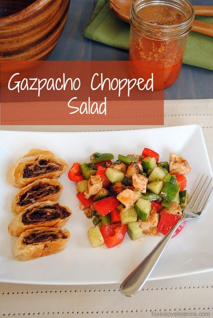 Gazpacho Chopped Salad - tastes like the classic cold summer soup, but it's an easy-to-make salad! | foxeslovelemons.com