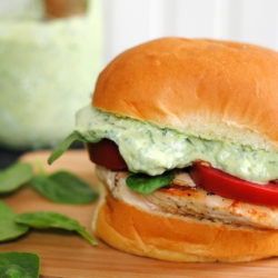 Green Goddess Chicken Sandwiches – healthy and delicious, with a creamy sauce made with Greek yogurt and tons of herbs. | foxeslovelemons.com