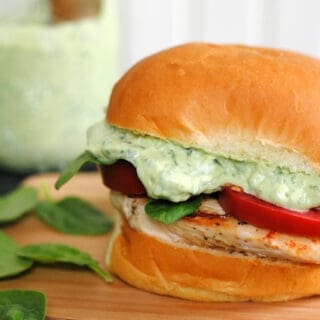 Green Goddess Chicken Sandwiches – healthy and delicious, with a creamy sauce made with Greek yogurt and tons of herbs.   foxeslovelemons.com