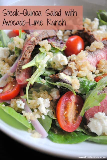 Steak-Quinoa Salad with Avocado-Lime Ranch Dressing | foxeslovelemons.com