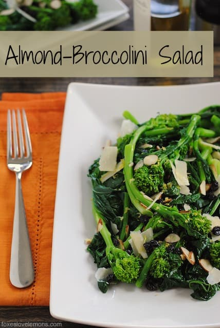 Almond Broccolini Salad – A cold, wholesome salad with broccolin, parmesan, currants, almonds and lemon vinaigrette. | foxeslovelemons.com