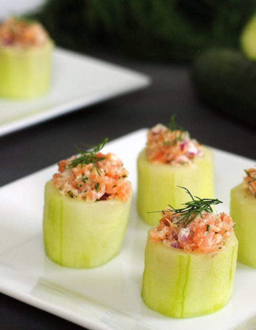 Cucumber Cups with Smoked Salmon Salad - An adorable appetizer that adds an elegant touch to any special occasion. Can easily be made using basic kitchen tools!   foxeslovelemons.com