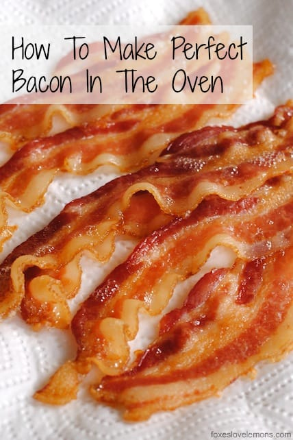 Wondering how to make bacon in the oven? Follow this two-step culinary school technique to make perfect crispy oven bacon, every time (with no splatters of bacon grease on your stovetop!) | foxeslovelemons.com