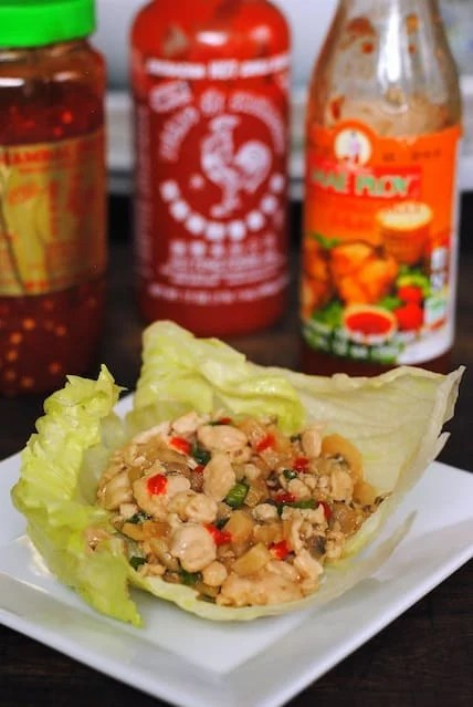 Chicken Lettuce Wraps with Asian Condiments - a great party food that can be kept warm in a slow cooker! | foxeslovelemons.com