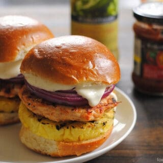 Red Curry Chicken Burgers with Grilled Pineapple, Red Onion & Lime Mayo   foxeslovelemons.com