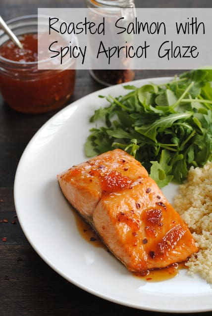Roasted Salmon with Spicy Apricot Glaze – a healthy meal that comes together in THREE MINUTES, plus roasting. | foxeslovelemons.com