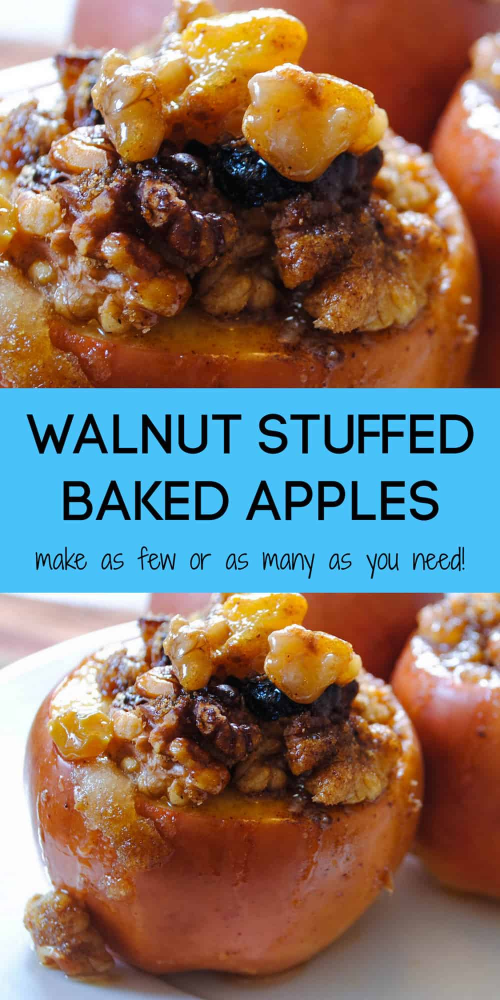These Walnut Stuffed Baked Apples are an easy fall treat for a crowd, or a weeknight dessert recipe for one or two. | foxeslovelemons.com
