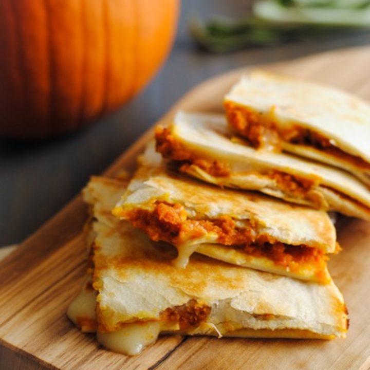 Pumpkin-Brie Quesadillas - a melty, cheesy fall treat! | foxeslovelemons.com