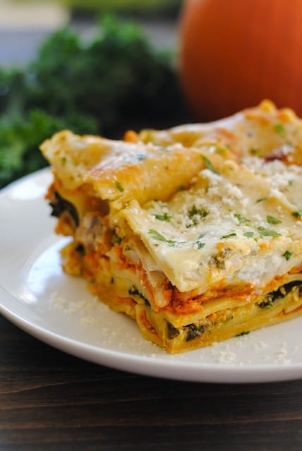 Pumpkin & Kale Lasagna - A hearty dish filled with fall flavors like pumpkin and sage. Can be vegetarian, or chicken sausage may be added, if desired. | foxeslovelemons.com