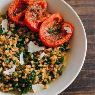 Farro and Kale Risotto with Roasted Tomatoes   www.foxeslovelemons.com