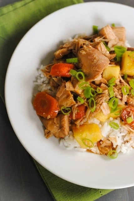 Crock Pot Teriyaki Turkey - Have some leftover turkey that you'd like to transform with completely non-Thanksgiving flavors? Throw it in your slow cooker with some pineapple, ginger and teriyaki sauce. Make a quick batch of rice, and a turkey dinner with Asian flair is served! | foxeslovelemons.com