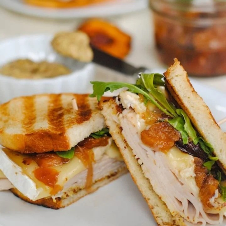 Turkey, Brie & Peach Paninis
