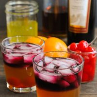 Clementine, Whiskey and Wine Cocktail - A strong but fruity and beautiful winter drink. | foxeslovelemons.com