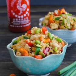 Sriracha Cashew Chicken Fried Rice - brown rice, lots of veggies and chicken make this a colorful and flavorful wok meal! | foxeslovelemons.com