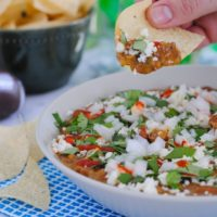 5 Ingredient Bean & Chorizo Dip - Chorizo, pinto beans, tomatillo salsa, lime juice and sour cream combine to make a game day dip the whole crowd will love!   foxeslovelemons.com