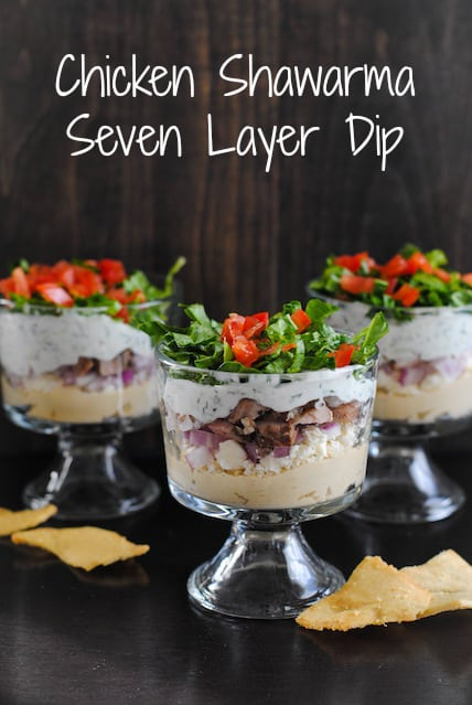Chicken Shawarma Seven Layer Dip - A crowd-pleasing Middle Eastern-inspired layered dip! | foxeslovelemons.com