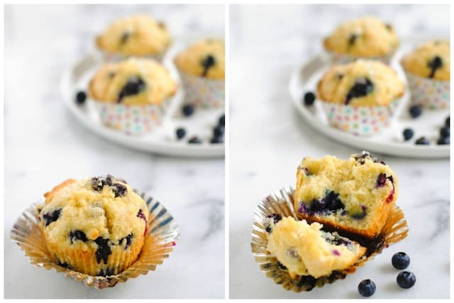 Best-Ever Blueberry Muffins - Moist, flavor-packed blueberry muffins flecked with lemon zest and finished with crunchy sugar for a coffee shop-style muffin. | foxeslovelemons.com