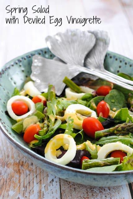 Spring Salad with Deviled Egg Vinaigrette - A fresh and healthy spring salad with a creamy vinaigrette that tastes like deviled eggs! | foxeslovelemons.com