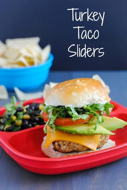 Turkey Taco Sliders - A healthy and tasty meal that you can quickly re-purpose into a leftover Turkey Taco Bowl the next day! See post for info about both recipes. | foxeslovelemons.com