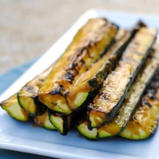 Miso-Glazed Grilled Zucchini - Use this 2 minute, 4 ingredient miso glaze on anything grilled this summer!   foxeslovelemons.com