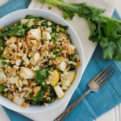 Farro & Kale Salad with Honey Mustard Dressing - Farro, pears, almonds, kale and blue cheese come together with honey mustard dressing for this hearty, healthy and crowd-pleasing salad! | foxeslovelemons.com