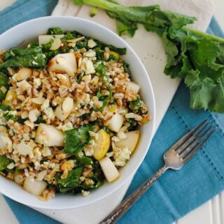 Farro & Kale Salad with Honey Mustard Dressing - Farro, pears, almonds, kale and blue cheese come together with honey mustard dressing for this hearty, healthy and crowd-pleasing salad!   foxeslovelemons.com