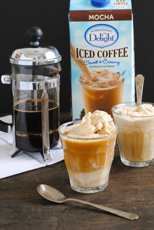 Double Coffee Affogato - A classic, elegant Italian dessert and coffee all in one. Cold and creamy coffee ice cream topped with hot, strong coffee. | foxeslovelemons.com