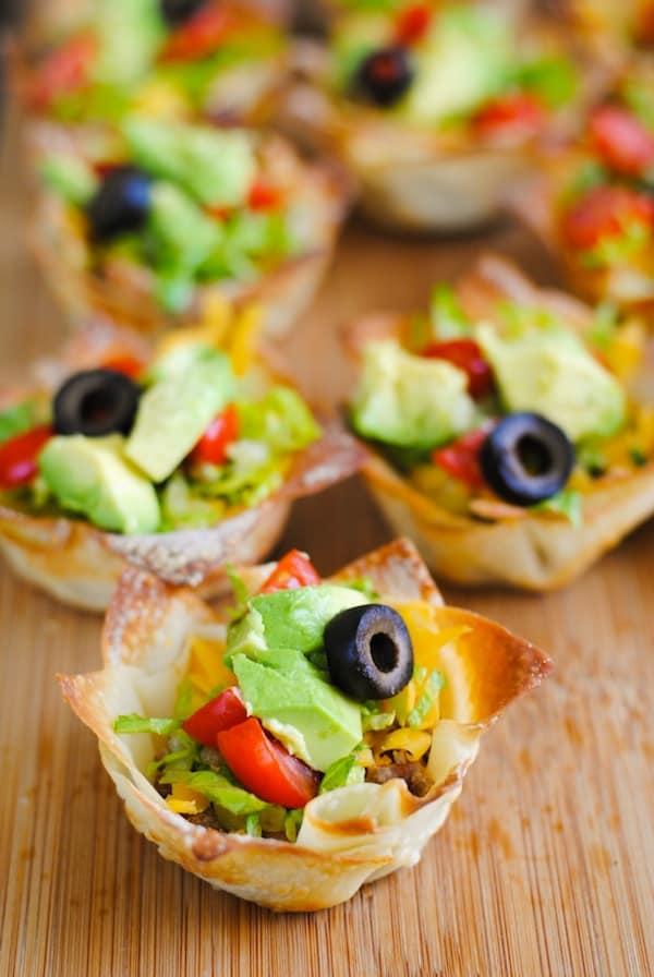Taco Salad Wonton Cups | Sangria Party Week 2014 | foxeslovelemons.com