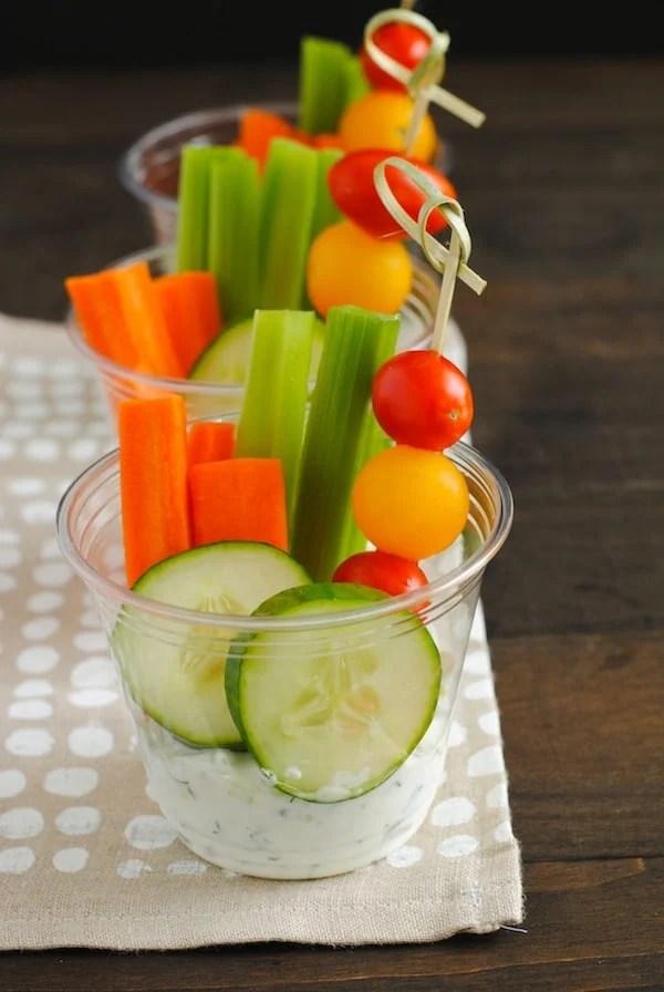 Veggies & Dip Cups | Sangria Party Week 2014 | foxeslovelemons.com