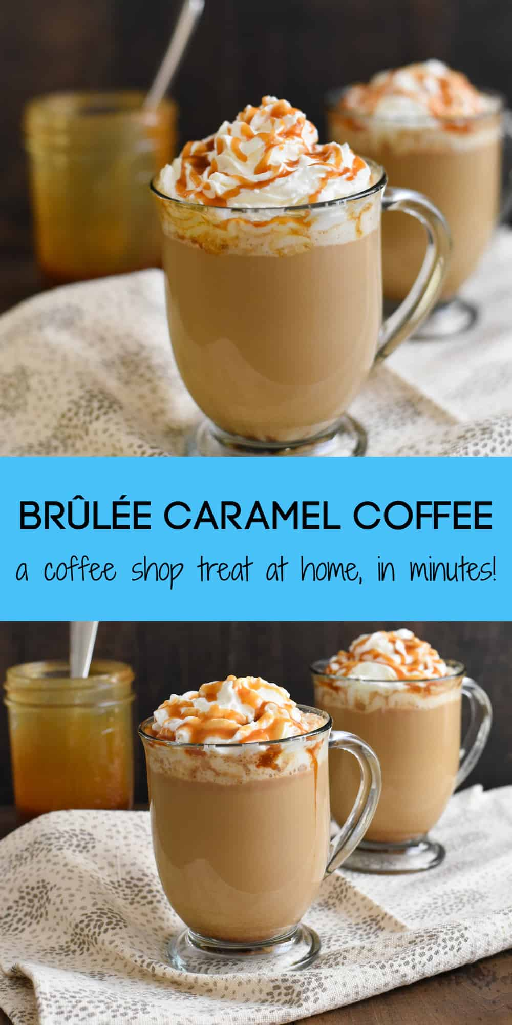 Brûlée Caramel Coffee - Make a coffeehouse-style drink at home in just minutes! Coffee, milk, caramel sauce and a touch of brown sugar come together to make a sweet caramel coffee treat! | foxeslovelemons.com