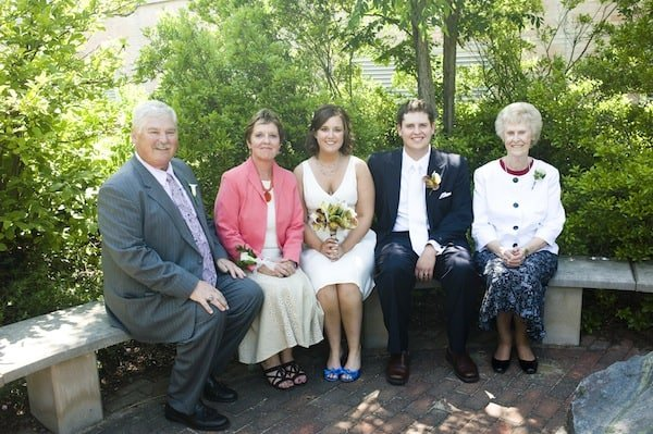 Image of extended family with bride and groom at wedding.