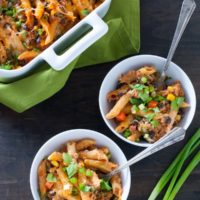 Mexican Pasta Bake - Baked penne loaded with chorizo sausage, black beans, veggies and cheese!   foxeslovelemons.com