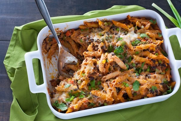 Mexican Pasta Bake - Baked penne loaded with chorizo sausage, black beans, veggies and cheese! | foxeslovelemons.com