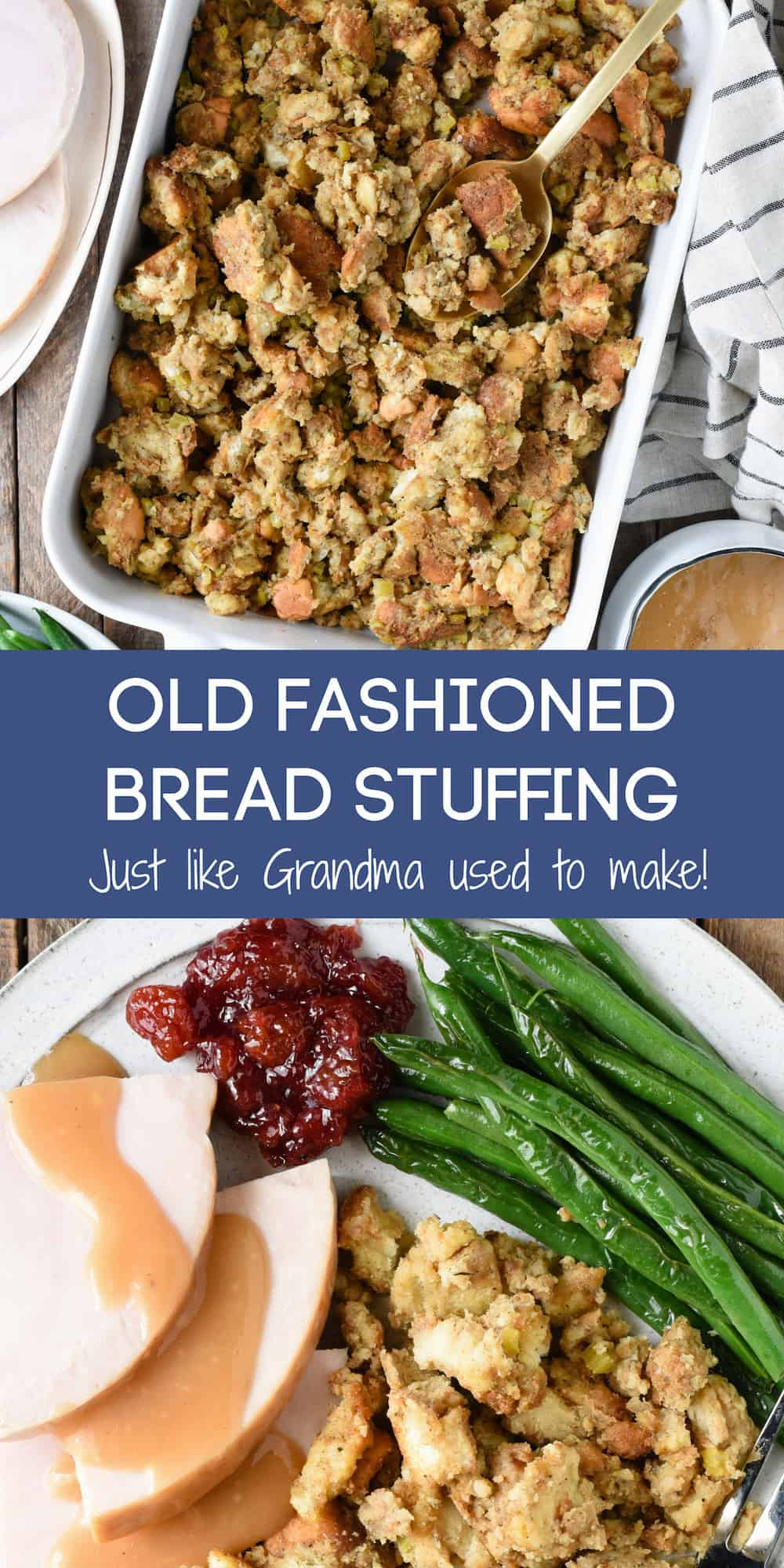 Collage of images of baking dish filled with bread stuffing, and plate of Thanksgiving food, with overlay: OLD FASHIONED BREAD STUFFING Just like Grandma used to make!