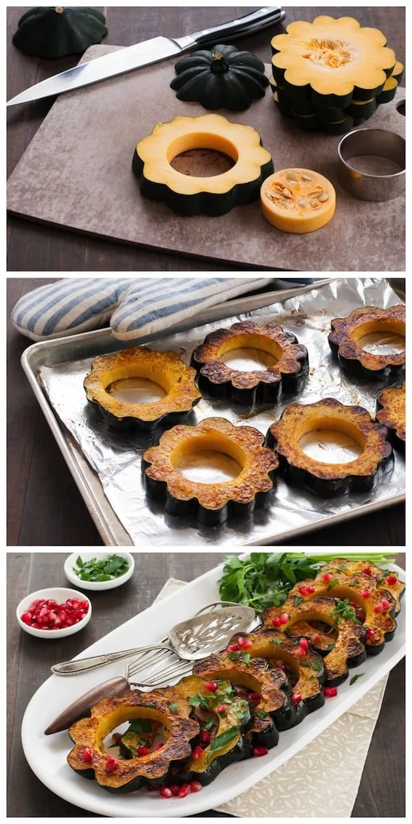 Roasted Acorn Squash with Pomegranate and Parsley - 3 simple steps, 1 beautiful autumn side dish! | foxeslovelemons.com